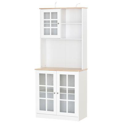 HOMCOM Küchenschrank mit Arbeitsplatte braun/weiß