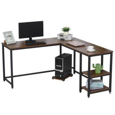 HOMCOM Computertisch in L-Form braun/schwarz