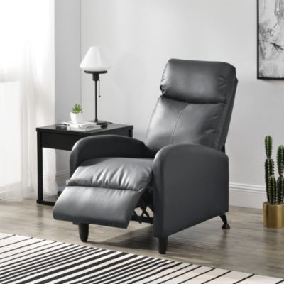 en.casa Polstersessel Relaxsessel mit verstellbarer Rückenlehne aus Kunstleder/Textil in verschiedenen Farben grau/beige