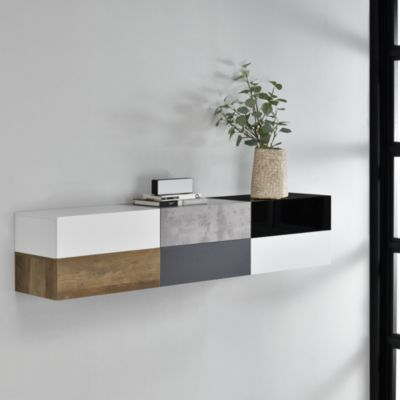 en.casa Sideboard Kommode aus 6 Wandregalen mit Schublade mehrfarbig