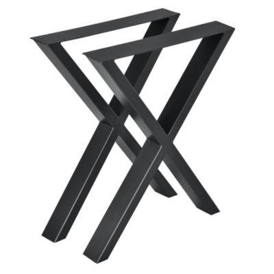 en.casa 2x Tischgestell DIY Tisch Esstisch Esszimmertisch Tischuntergestell Tischkufen Tischbein X-Gestell schwarz