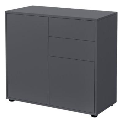 en.casa Sideboard Kommode 74x79x36cm mit Schubladen und Schranktüren in verschiedenen Farben dunkelgrau