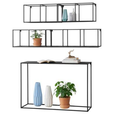 en.casa Konsolentisch Sideboard mit Wandregal 3er Set Kommode Metall schwarz