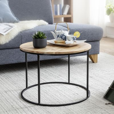 WOHNLING Couchtisch 60x43x60 cm Akazie Sofatisch Massivholz Tisch Rund Wohnzimmertisch Kaffeetisch Massiv braun