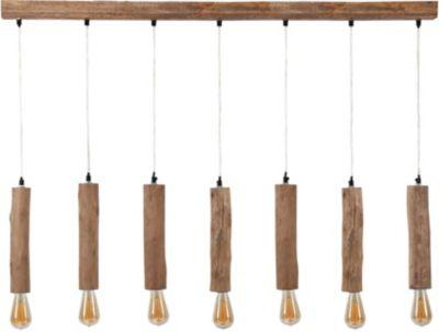 SalesFever Eukalyptus-Holz Hängeleuchte 125x150 cm, 7-flammig natur