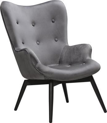SalesFever Samt Sessel, B80xT99xH92 cm grau