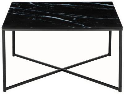 SalesFever Couchtisch in Marmoroptik, mit Glasplatte, B80xT80xH45 cm schwarz