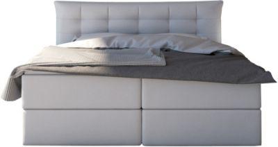 SalesFever Kunstleder Boxspringbett 200x200 cm weiß Gr. 200 x 200
