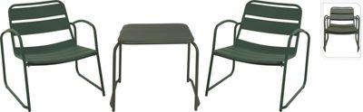 Koopman 3-tlg. Gartenmöbel Set aus Metall dunkelgrün