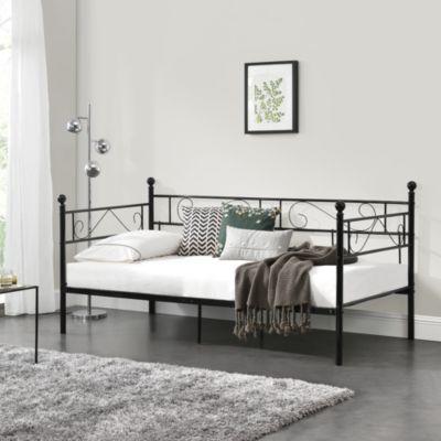 en.casa Tagesbett Einzelbett 90x200 Metallbett Jugendbett in verschiedenen Farben schwarz Gr. 90 x 200