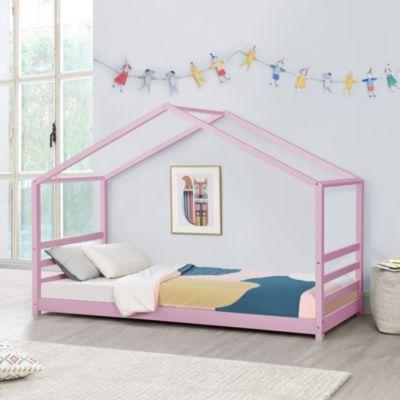 en.casa Kinderbett mit Lattenrost und Gitter 90 x 200 cm Hausbett Holz Bettenhaus Bett Jugendbett in verschiedenen Farben rosa