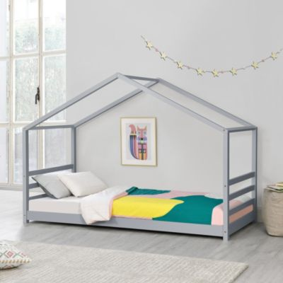 en.casa Kinderbett mit Lattenrost Hausbett Bettenhaus Jugendbett Holz in verschiedenen Größen und Farben grau Gr. 70 x 140