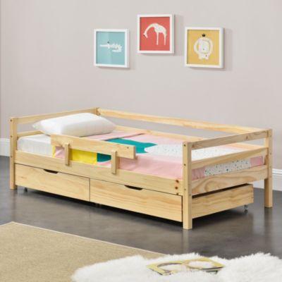 en.casa Kinderbett mit 2 Bettkasten Jugendbett mit Stauraum Rausfallschutz Lattenrost Kiefernholz in verschiedenen Farben und Größen natur Gr. 70 x 140