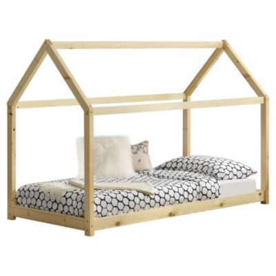 en.casa Kinderbett Hausbett mit Kaltschaummatratze 90x200cm Holzbett Jugendbett aus Kiefernholz in verschiedenen Farben holzfarben Gr. 90 x 200