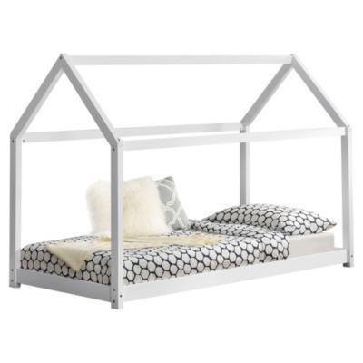 en.casa Kinderbett Hausbett 90x200cm Holzbett Jugendbett aus Kiefernholz in verschiedenen Farben weiß Gr. 90 x 200