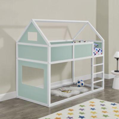 en.casa Kinder Etagenbett Hochbett 90x200cm mit Lattenrost und Leiter Jugendbett Hausbett mint/weiß Gr. 90 x 200