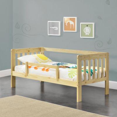 en.casa Kinderbett mit Rausfallschutz Jugendbett mit Schutzgitter und Lattenrost Kiefernholz in verschiedenen Farben und Größen natur Gr. 70 x 140
