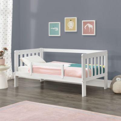 en.casa Kinderbett mit Rausfallschutz Jugendbett mit Schutzgitter und Lattenrost Kiefernholz in verschiedenen Farben und Größen weiß Gr. 70 x 140