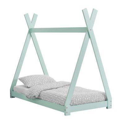en.casa Kinderbett im Tipi-Design in mehreren Größen und Farben aus Kiefernholz Jugendbett mint Gr. 70 x 140