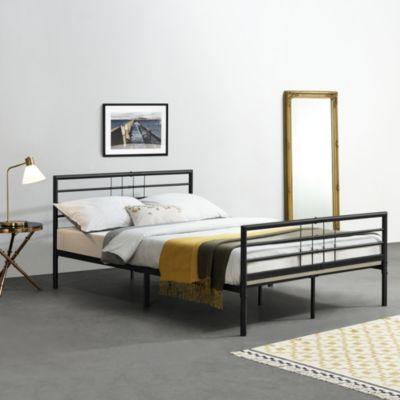 en.casa Metallbett Doppelbett Gästebett Schwarz in verschiedenen Größen schwarz Gr. 140 x 200