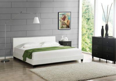 en.casa Modernes Doppelbett Ehebett Polsterbett 180x200cm inkl. Lattenrost weiß Gr. 180 x 200