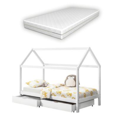 en.casa Kinderbett mit Bettkasten und Kaltschaummatratze 90x200cm Haus Holz Weiß weiß Gr. 90 x 200
