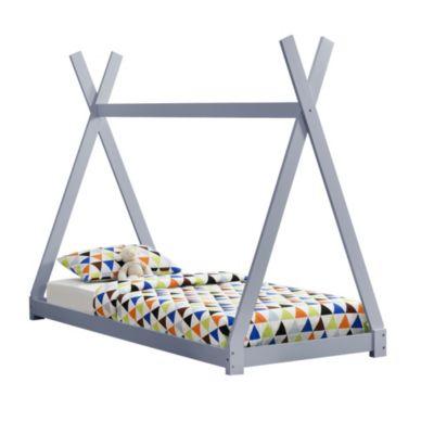 en.casa Kinderbett Tipi Design 90x200cm Jugendbett aus Kiefernholz in verschiedenen Farben hellgrau Gr. 90 x 200
