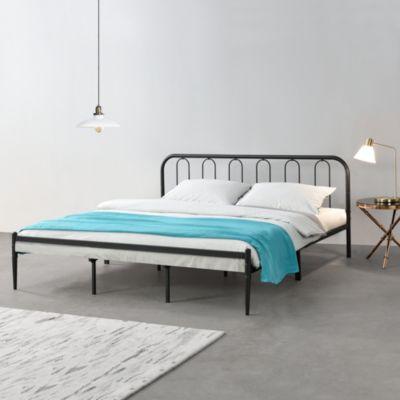 en.casa Metallbett Schwarz Bettgestell Bett mit Lattenrost in verschiedenen Größen schwarz Gr. 180 x 200