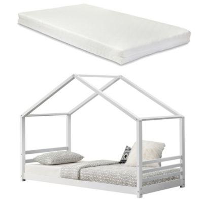 en.casa Kinderbett mit Kaltschaummatratze 90x200cm Jugendbett Hausbett Kiefernholz weiß Gr. 90 x 200