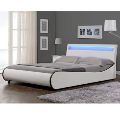 en.casa LED Polsterbett Doppelbett Kunstlederbett in verschiedenen Größen 140//160/180x200cm und Farben weiß Gr. 140 x 200