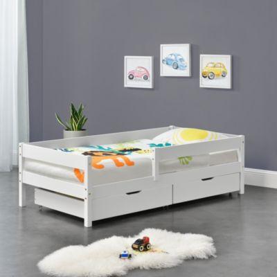en.casa Kinderbett mit Rausfallschutz und Schubladen Jugendbett mit Schutzgitter mit Lattenrost Kiefernholz weiß Gr. 90 x 200