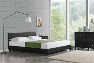 en.casa Polsterbett Kunstlederbett 140x200cm mit Stecklattenrost schwarz Gr. 140 x 200