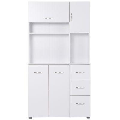 HOMCOM Küchenschrank mit 3 Schubladen weiß