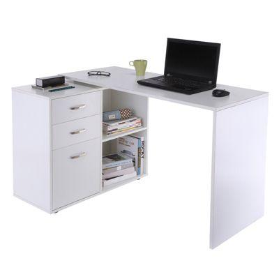 HOMCOM Computertisch mit Schubladenschrank weiß
