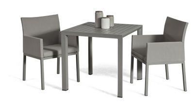 Grasekamp Terrassenset Sol 3 teilig - Tisch und 2x  Sessel aus Aluminium/Textilene Gartenmöbelsets grau