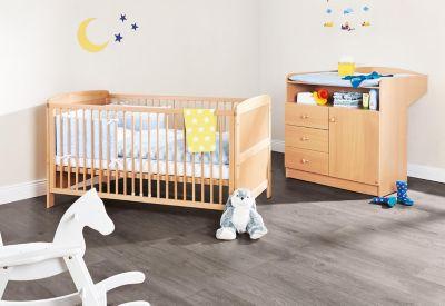 Kinderbett & Wickelkommode Sparset BJÖRN, Buche holzfarben Gr. 70 x 140