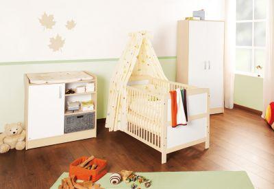 Komplett Kinderzimmer FLORIAN, 3-tlg. (Kinderbett, Wickelkommode und 2-türiger Kleiderschrank), Ahorn/Creme weiß Gr. 70 x 140