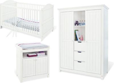 Komplett Kinderzimmer NINA, 3-tlg. (Kinderbett, Wickelkommode und großer 2-türiger Kleiderschrank mit Mittelregal), massiv/Weiß lasiert weiß Gr. 70 x 140