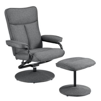 en.casa Sessel mit Fußhocker im Set in verschiedenen Farben grau/beige