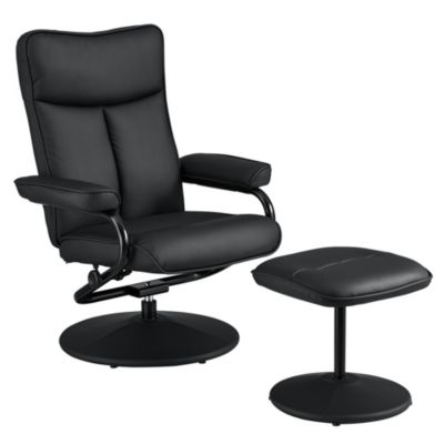 en.casa Sessel mit Fußhocker im Set in verschiedenen Farben schwarz
