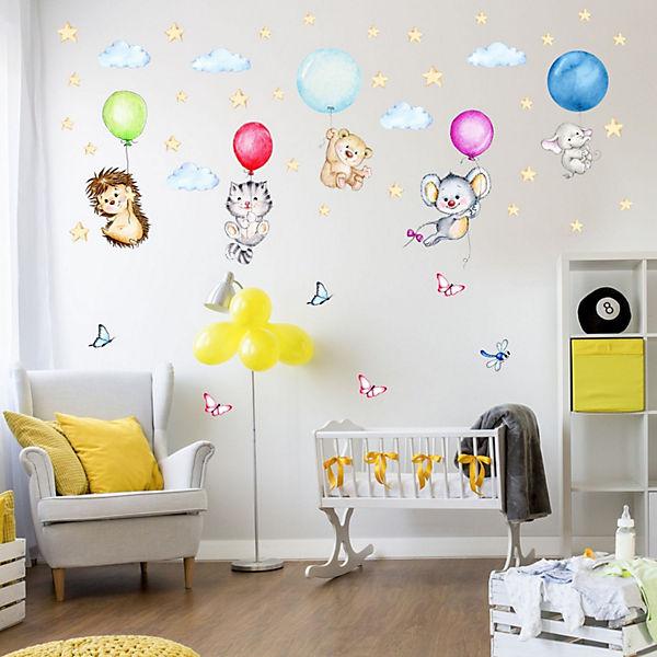 wandtattoo 123 wandtattoo niedliche tiere mit luftballons
