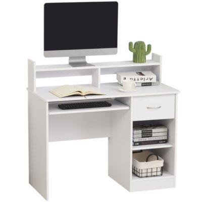HOMCOM Computertisch mit Schublade weiß