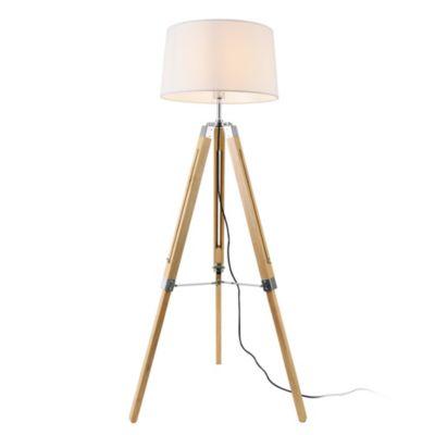en.casa Stehleuchte Stehlampe 1xE27 3-Fuß-Leuchte 145cm Tripod-Standleuchte mit Stoffschirm weiß-kombi