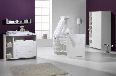 Schardt Komplett Kinderzimmer ECO STRIPE, 3-tlg. (Kinderbett, Wickelkommode und 2-türiger Kleiderschrank mit Seitenregal), weiß Gr. 70 x 140