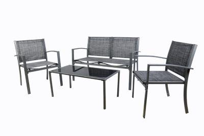 VCM 4 tlg. Alu Sitzgruppe Loungeset Balkon Set Gartenmöbel Tisch Stuhl Lounge Gartenset grau