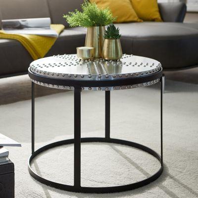 WOHNLING Couchtisch Metall 58x45x58 cm Industrial Style Rund   Design Wohnzimmertisch mit Nieten Modern mehrfarbig