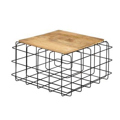 WOHNLING Couchtisch Mango Massivholz / Metall Sofatisch Gitter Design Wohnzimmertisch Eckig Loungetisch Holz braun