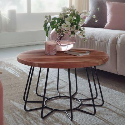 WOHNLING Couchtisch 60 cm Akazie Massivholz / Metall Sofatisch Wohnzimmertisch Rund Massiv Tisch Wohnzimmer braun