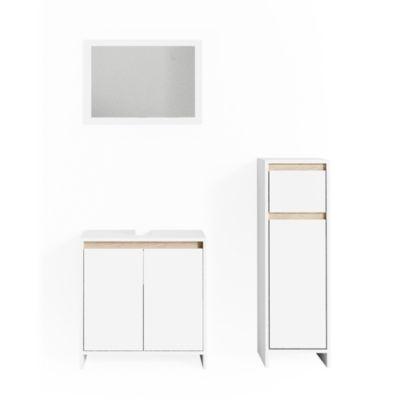 Badmöbel Set Emma mit Waschtischunterschrank, Spiegel und Midischrank weiß