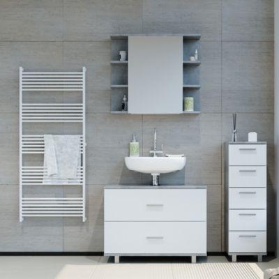 Badmöbel Set ILIAS Weiß Beton Spiegel Kommode Unterschrank Badschrank weiß